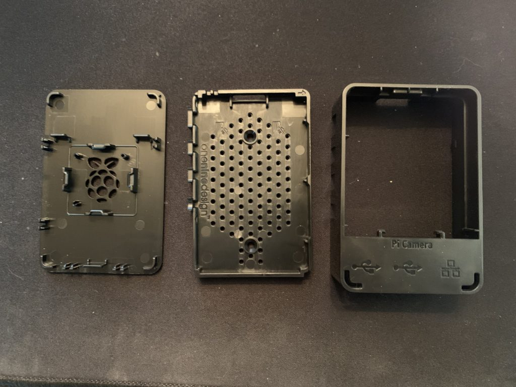 3 Sections of Raspberry Pi case broken down into individual components