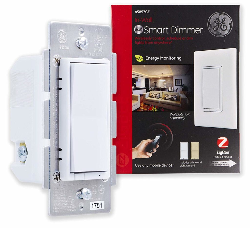 GE smart dimmer switch that mounts flush with the wall.
