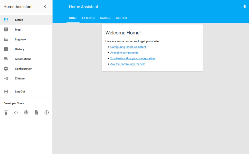 Home Assistant new installation screen