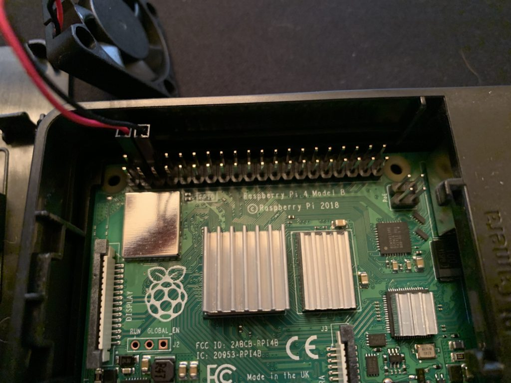 Pin locations for Raspberry Pi cooling fan