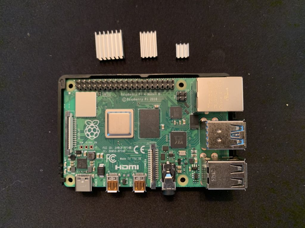 Raspberry Pi with heat shield placement shown