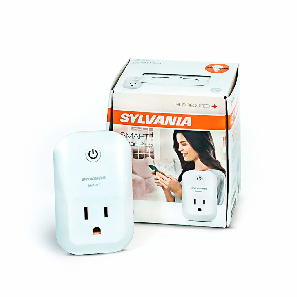 ZigBee compatible Sylvania smart plug that plugs into outlet allowing for smart control of outlet.